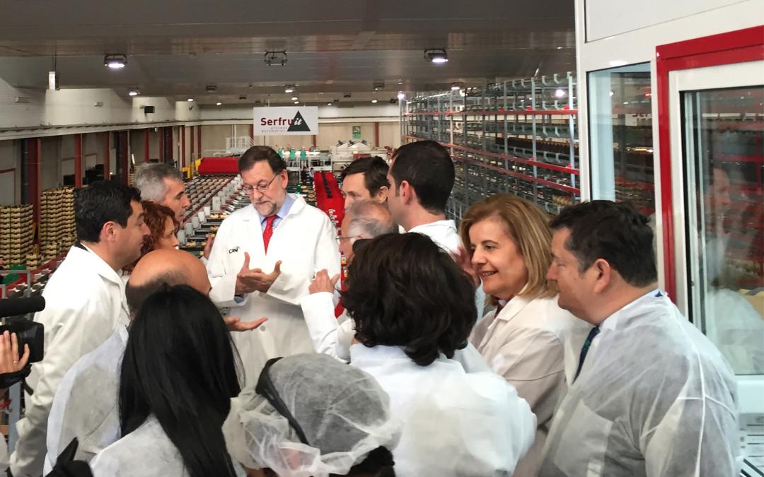 Le president du gouvernement d'Espagne Mariano Rajoy Brey visite les instalations de CASI, automatisees dans leurs totalite par SERFRUIT.